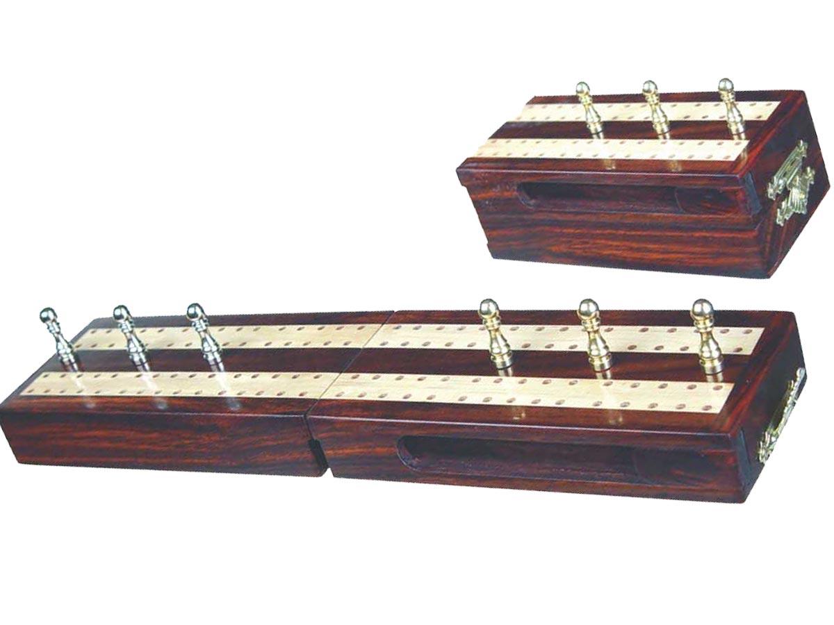 "Regalia Travel Folding Cribbage Board in Rosewood / Maple 10"" - 2 Tracks"