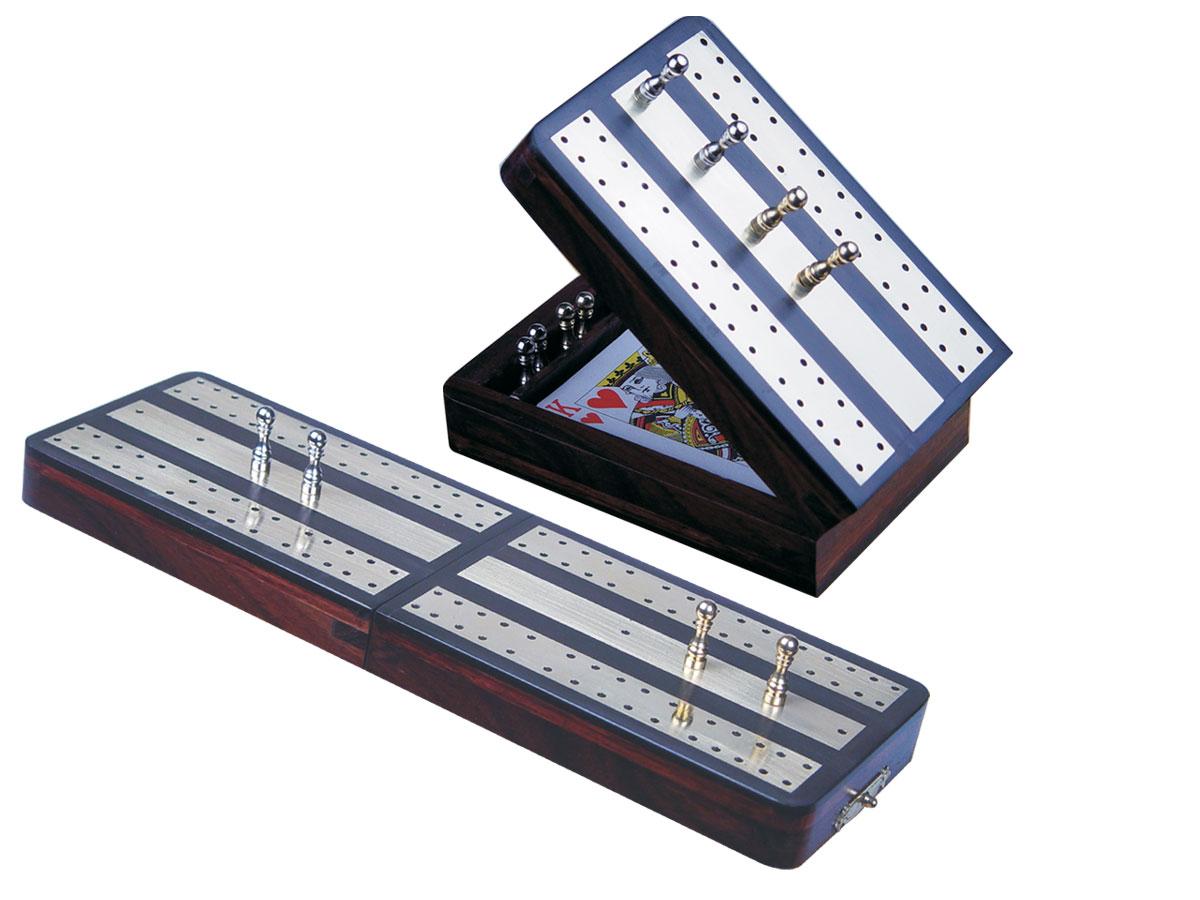 "Regalia Folding Cribbage Board & Box in Ebony / Brass 10"" - 2 tracks"