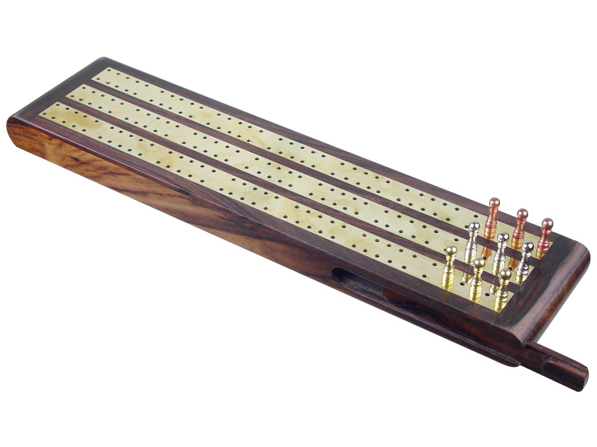 "Regalia Flat Cribbage Board in Rosewood / Brass 13"" - 3 Tracks"