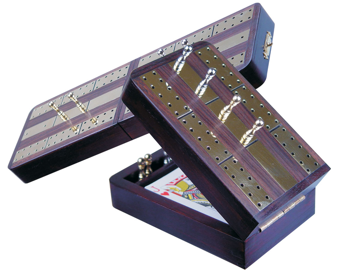 "Imperial Folding Cribbage Board & Box in Rosewood / Brass 10"" - 2 Tracks"
