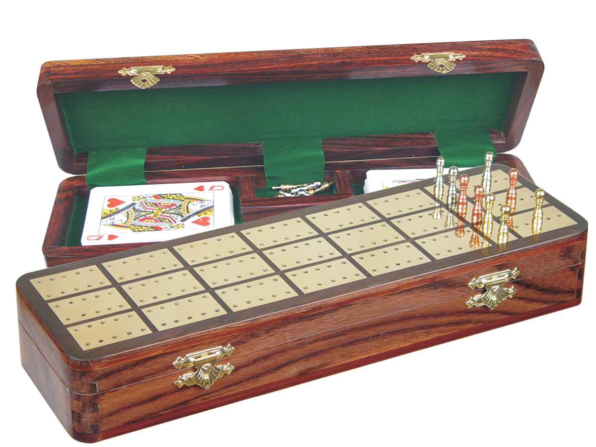 """Imperial Cribbage Board & Box in Rosewood / Brass 12"""" - 3 Tracks"""