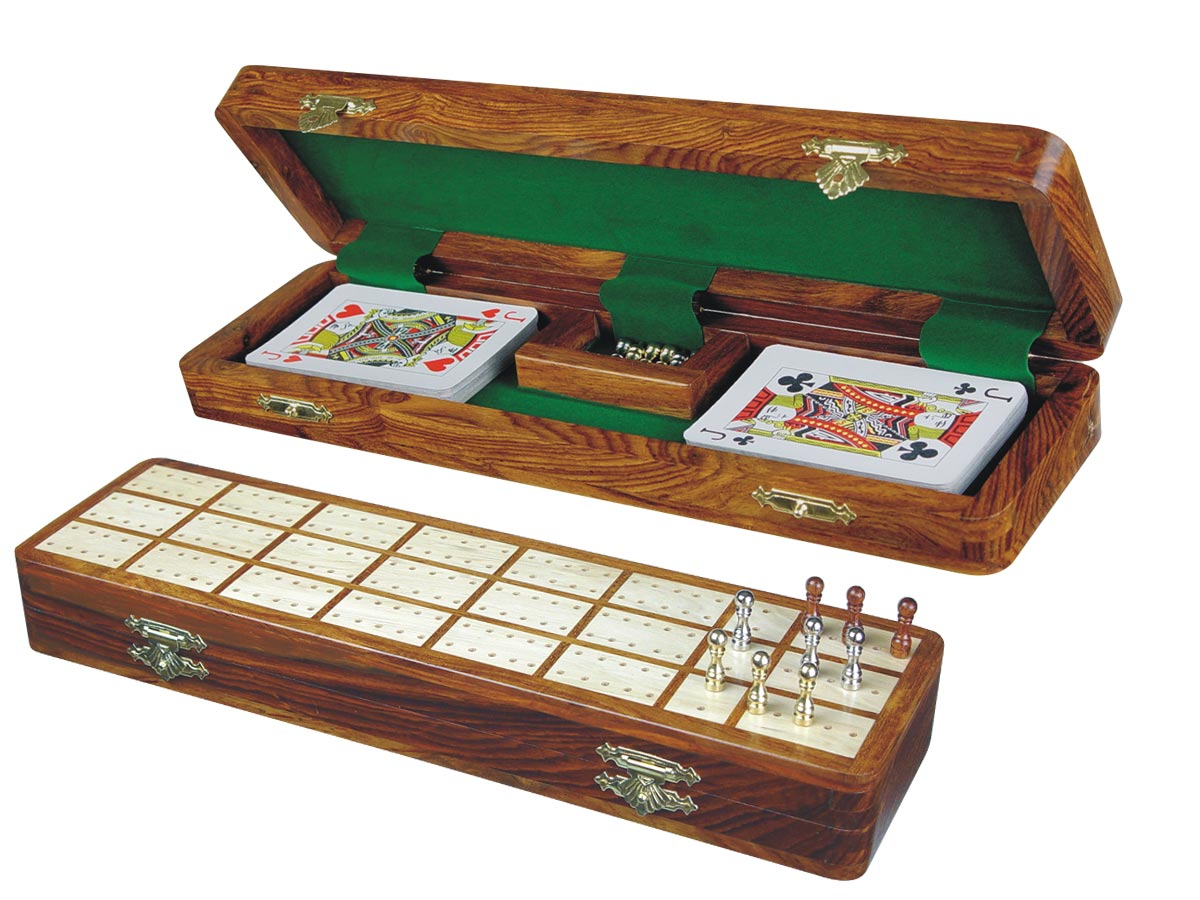 """Imperial Cribbage Board & Box in Golden Rosewood / Maple 12"""" - 3 Tracks"""