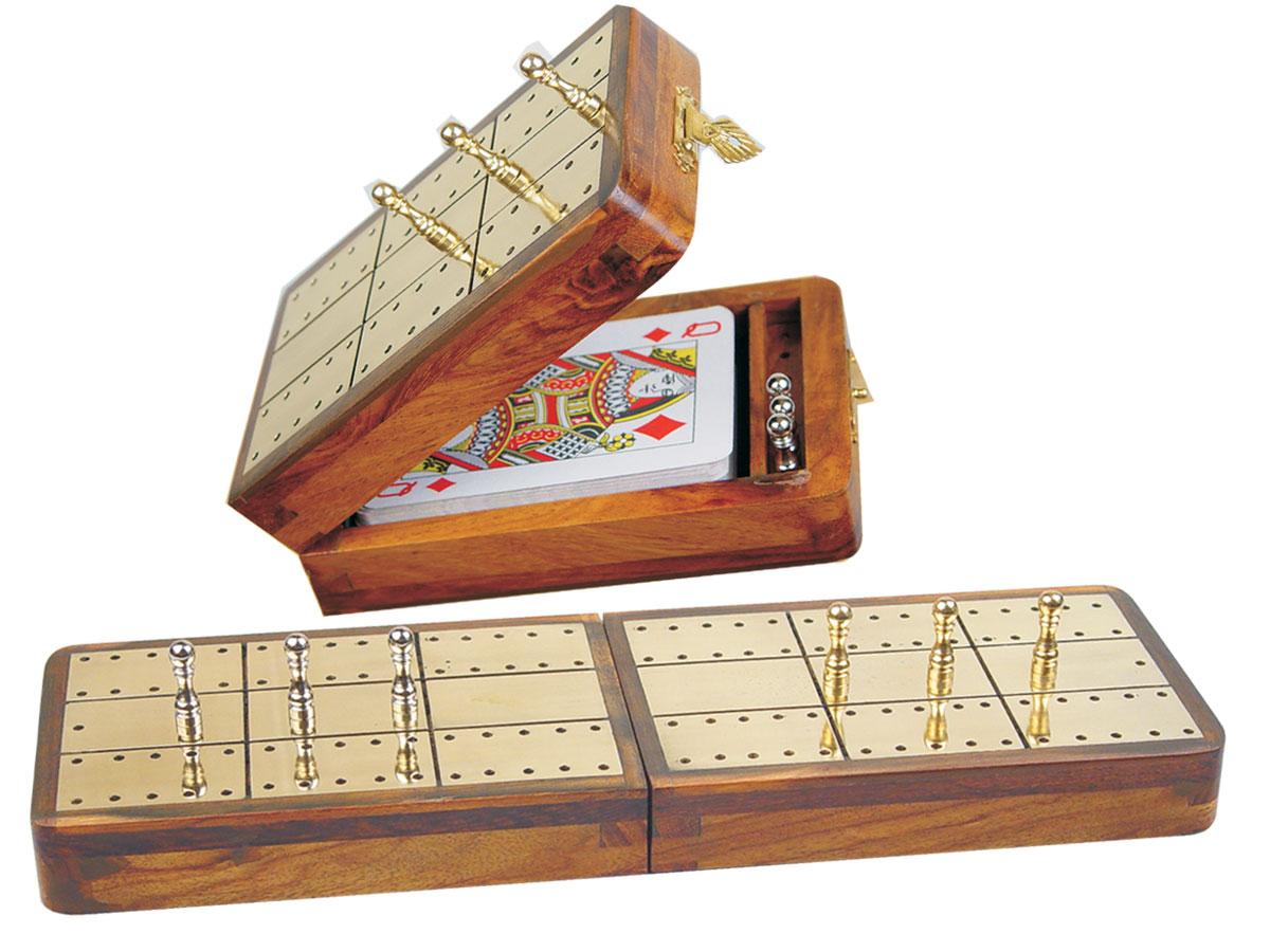 "Royal Folding Cribbage Board & Box in Golden Rosewood / Brass 10"" - 2 Tracks"