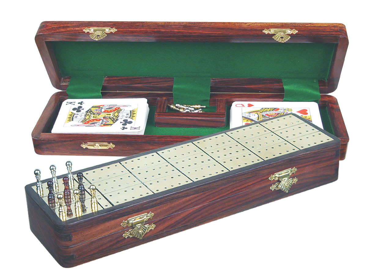 """Royal Cribbage Board & Box in Rosewood / Brass 12"""" - 3 Tracks"""