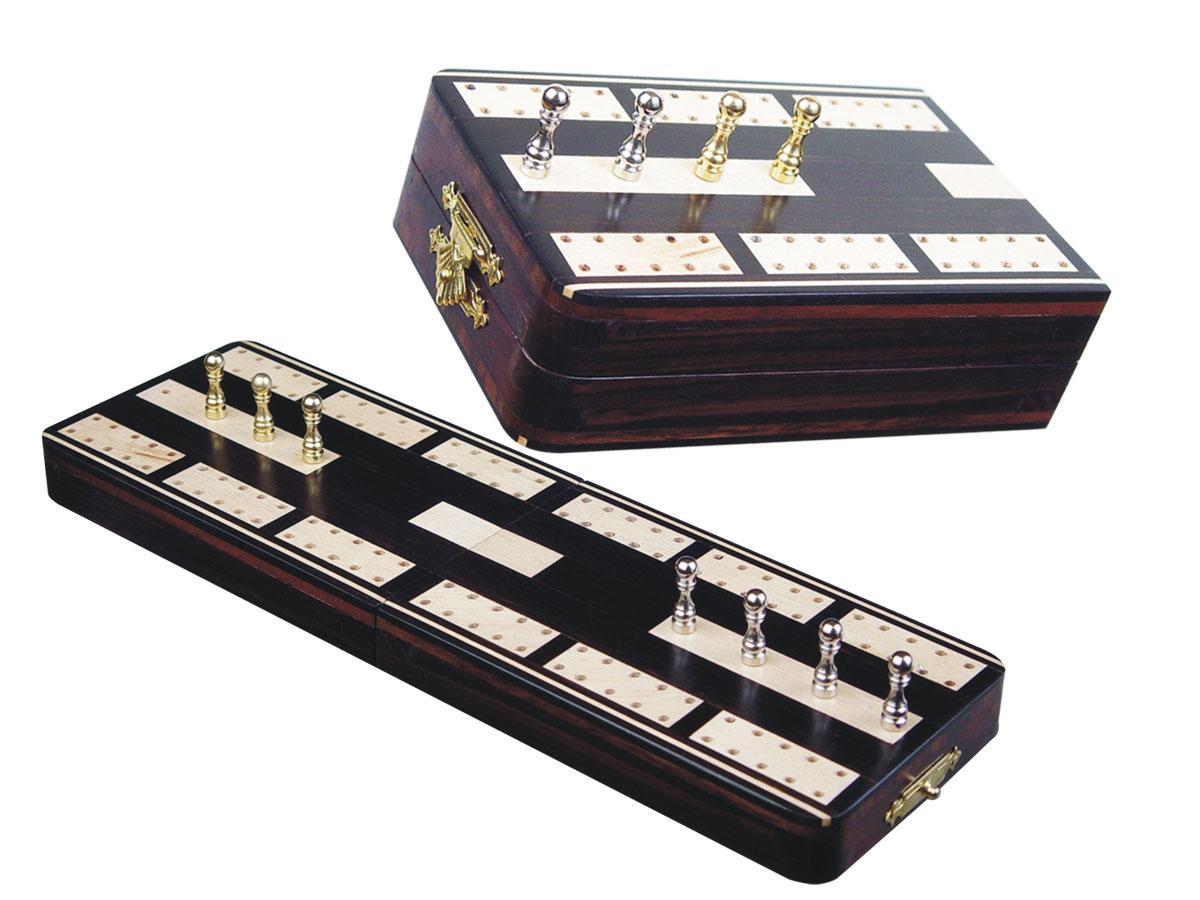 "Majestic Folding Cribbage Board & Box in Ebony / Maple 10"" - 2 Tracks"