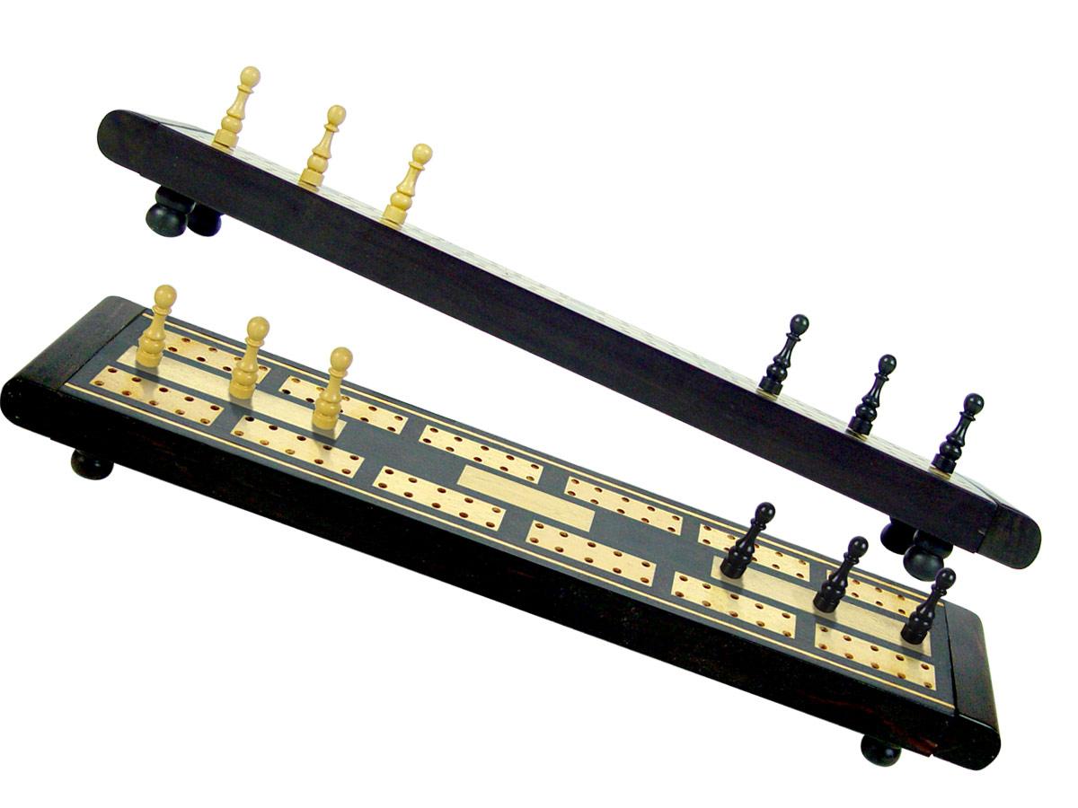 "Wooden Majestic Cribbage Board Ebony / Maple 2 Tracks Revolving Lid - 10"""