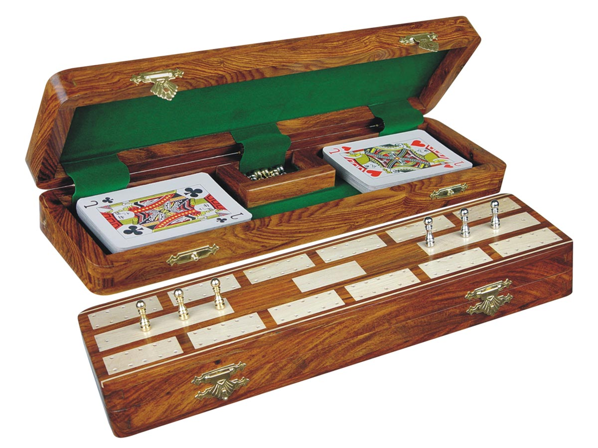 "Majestic Cribbage Board & Box in Golden Rosewood / Maple 12"" - 2 Tracks"