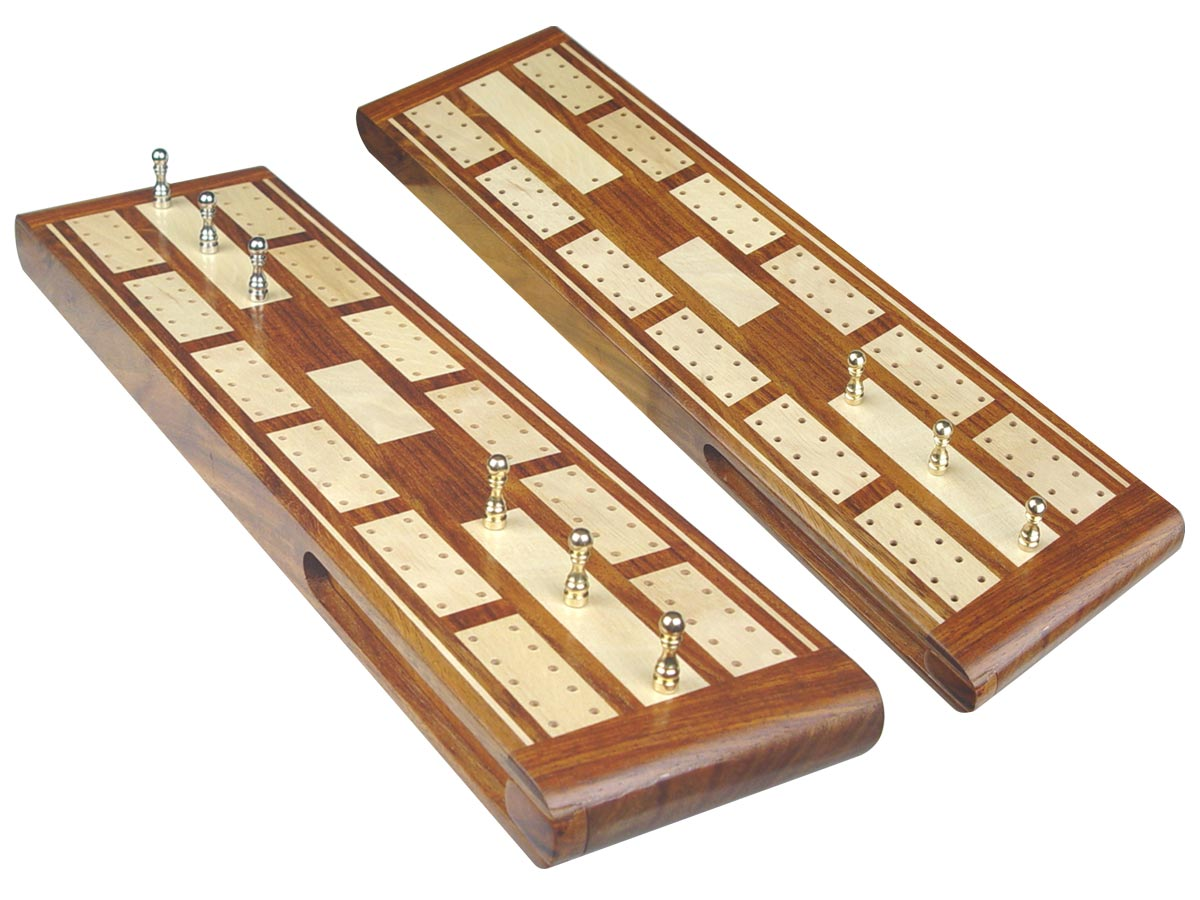 """Majestic Flat Cribbage Board in Golden Rosewood / Maple 13"""" - 2 Tracks"""