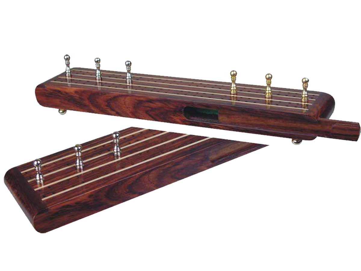 "Supreme Flat Cribbage Board in Rosewood / Maple 10"" - 2 Tracks"
