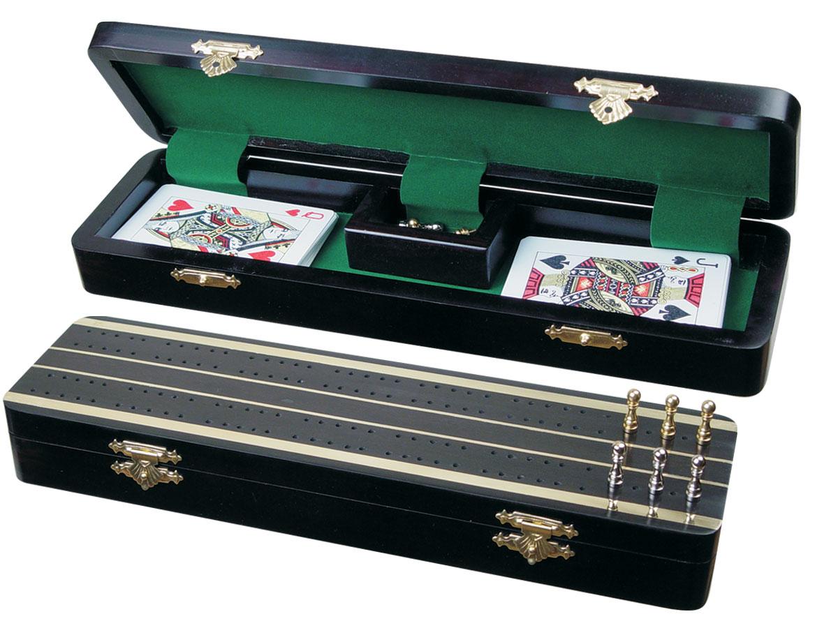 """Supreme Cribbage Board & Box in Ebony / Brass 12"""" - 2 Tracks"""