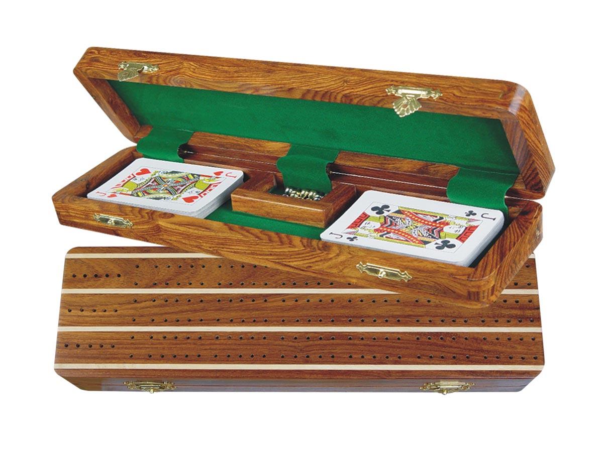 "Supreme Cribbage Board & Box in Golden Rosewood / Maple 12"" - 3 Tracks"