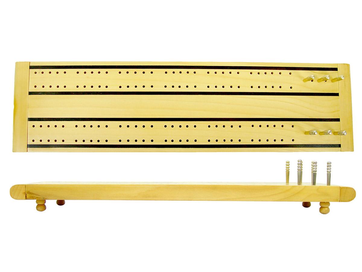 "Wooden Supreme Cribbage Board Maple / Ebony 2 Tracks Revolving Lid 13"""