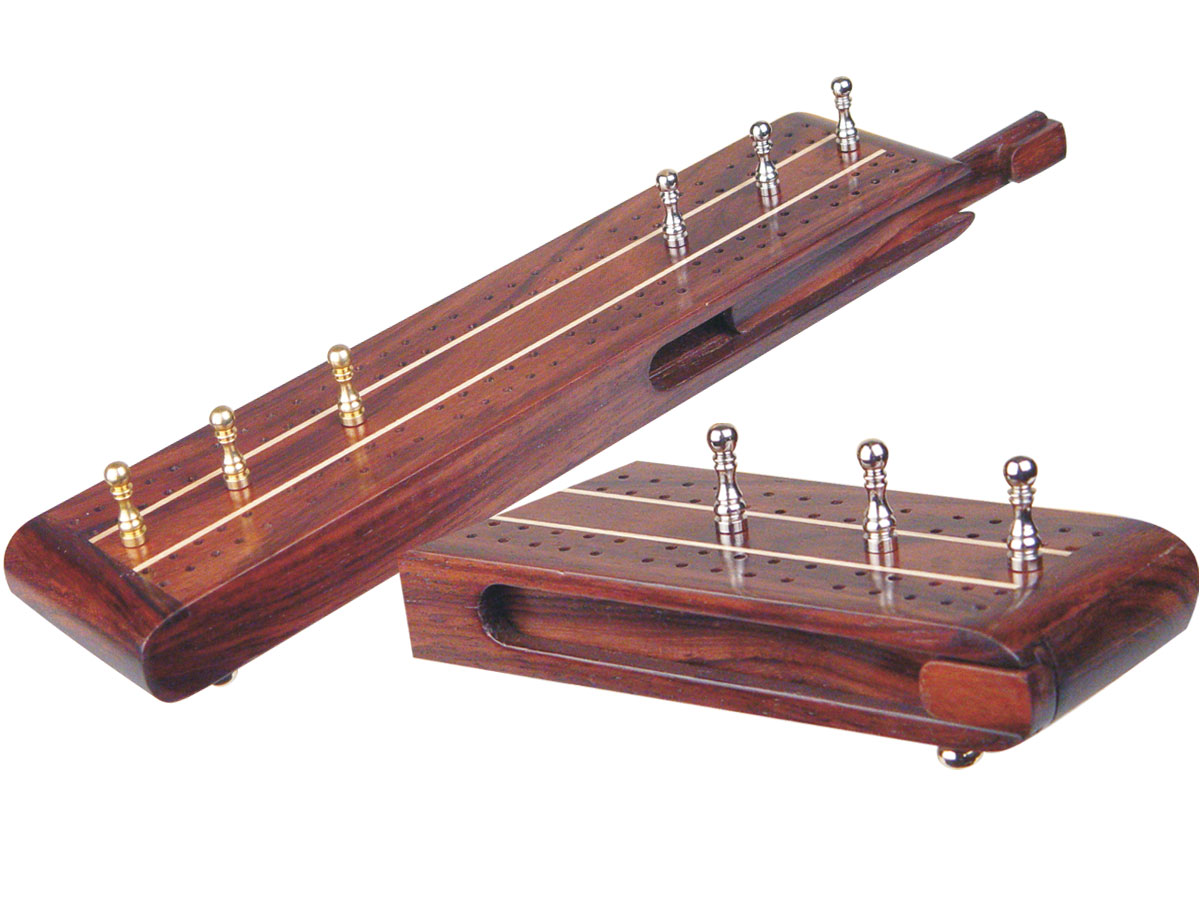 """Sovereign Flat Cribbage Board in Rosewood / Maple 10"""" - 2 Tracks"""
