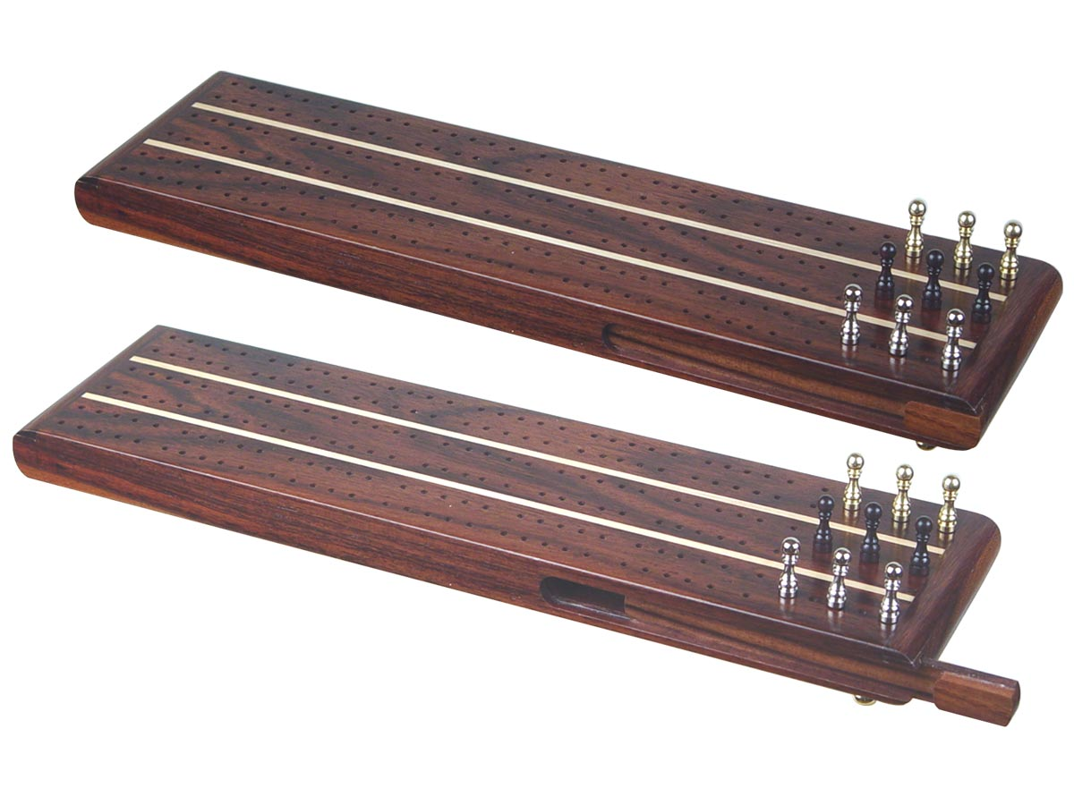 """Sovereign Flat Cribbage Board in Rosewood / Maple 13"""" - 3 Tracks"""