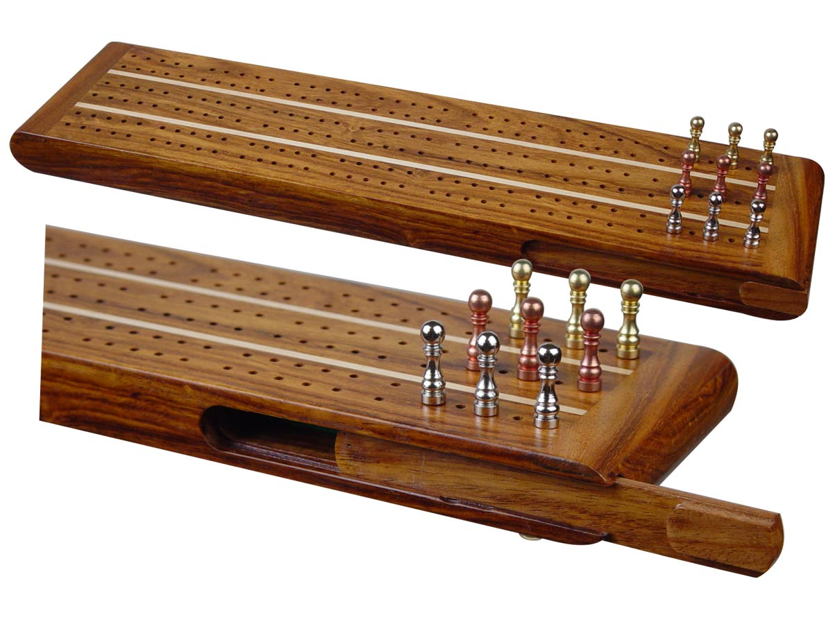"Sovereign Flat Cribbage Board in Golden Rosewood / Maple 13"" - 3 Tracks"