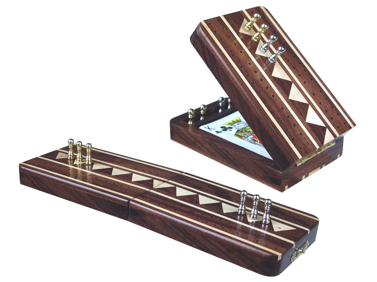 "Monarch Folding Cribbage Board & Box in Rosewood / Maple 10"" - 2 Tracks"