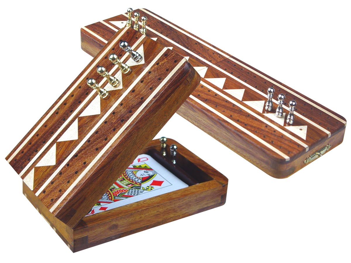 "Monarch Folding Cribbage Board & Box in Golden Rosewood / Maple 10"" - 2 Tracks"