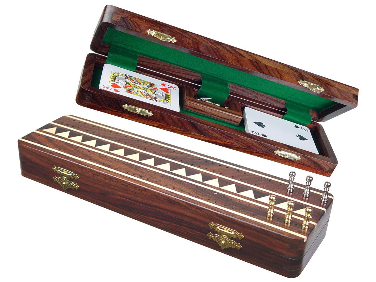 "Monarch Cribbage Board & Box in Rosewood / Maple 12"" - 2 Tracks"