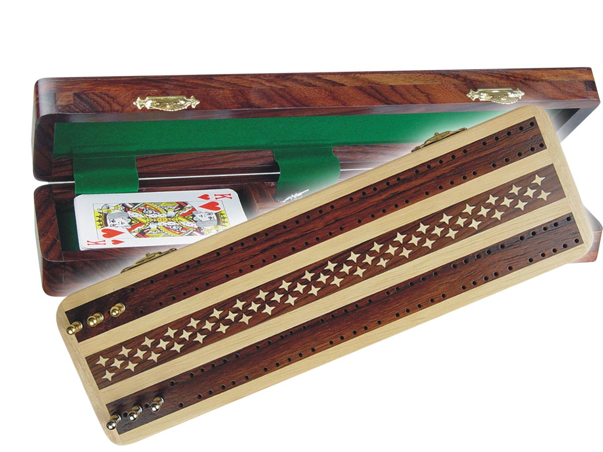 "Artistic Cribbage Board & Box in Maple/Rosewood 12"" - 2 Tracks"