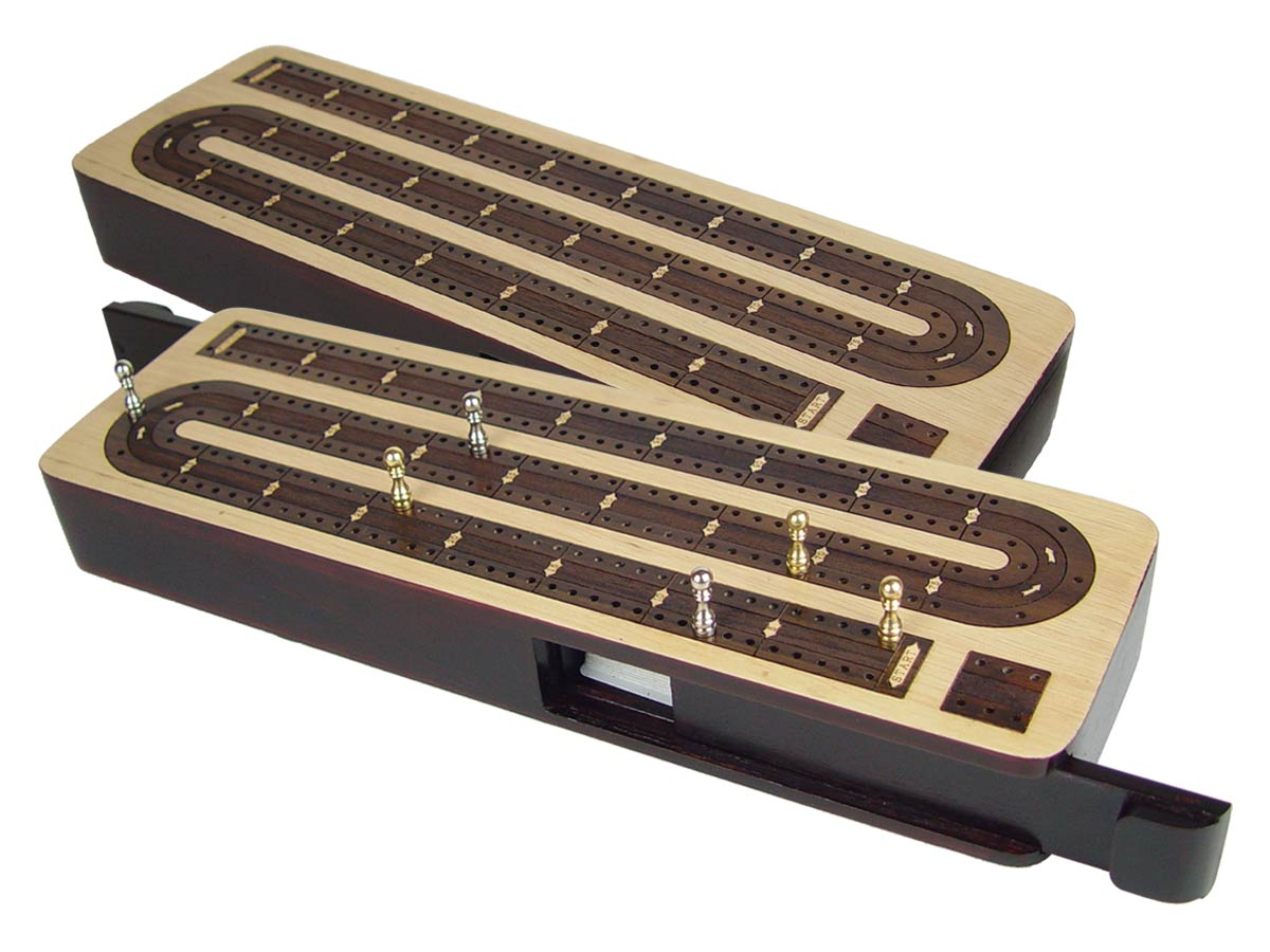 "Continuous Cribbage Board in Maple / Rosewood : 2 Tracks :: 12"" Sliding Lid"