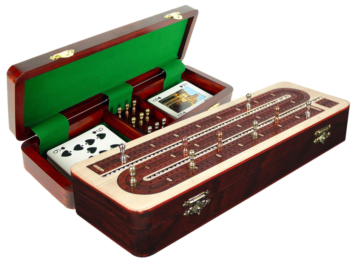Continuous Cribbage Board Studded with Crystals Similar to Diamonds on Maple Board/Box inlaid with Bloodwood - 3 Track