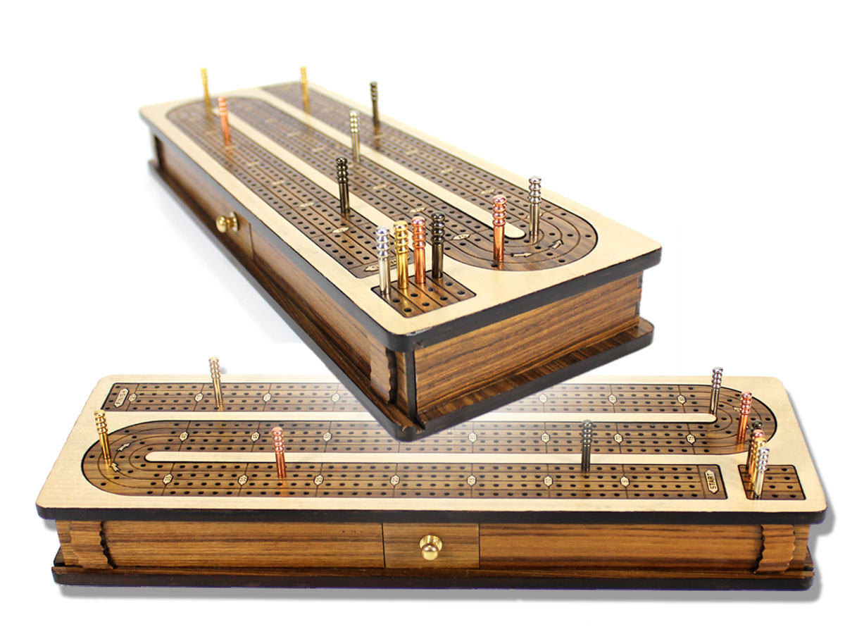 Continuous Cribbage Board Inlaid 4 Tracks Maple/Teakwood with Sliding Lids and Drawer