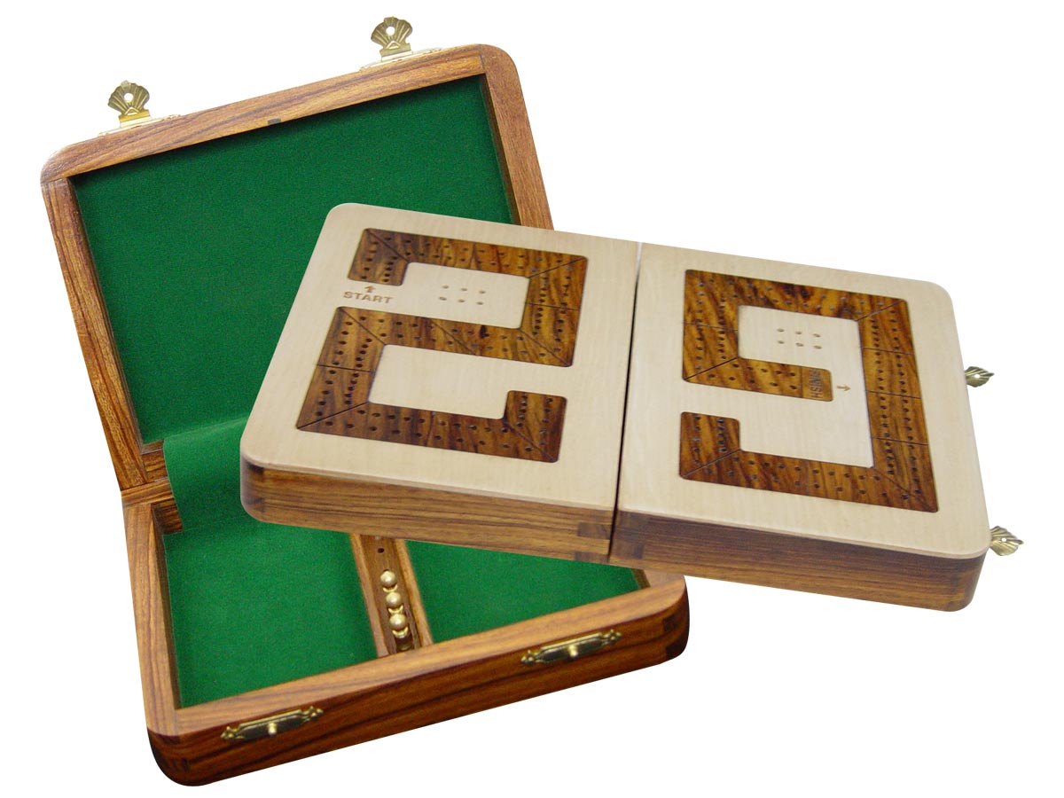 "29 Cribbage Board / Box Folding - Golden Rosewood inlaid on Maple Ground 10"" - 2 Tracks"