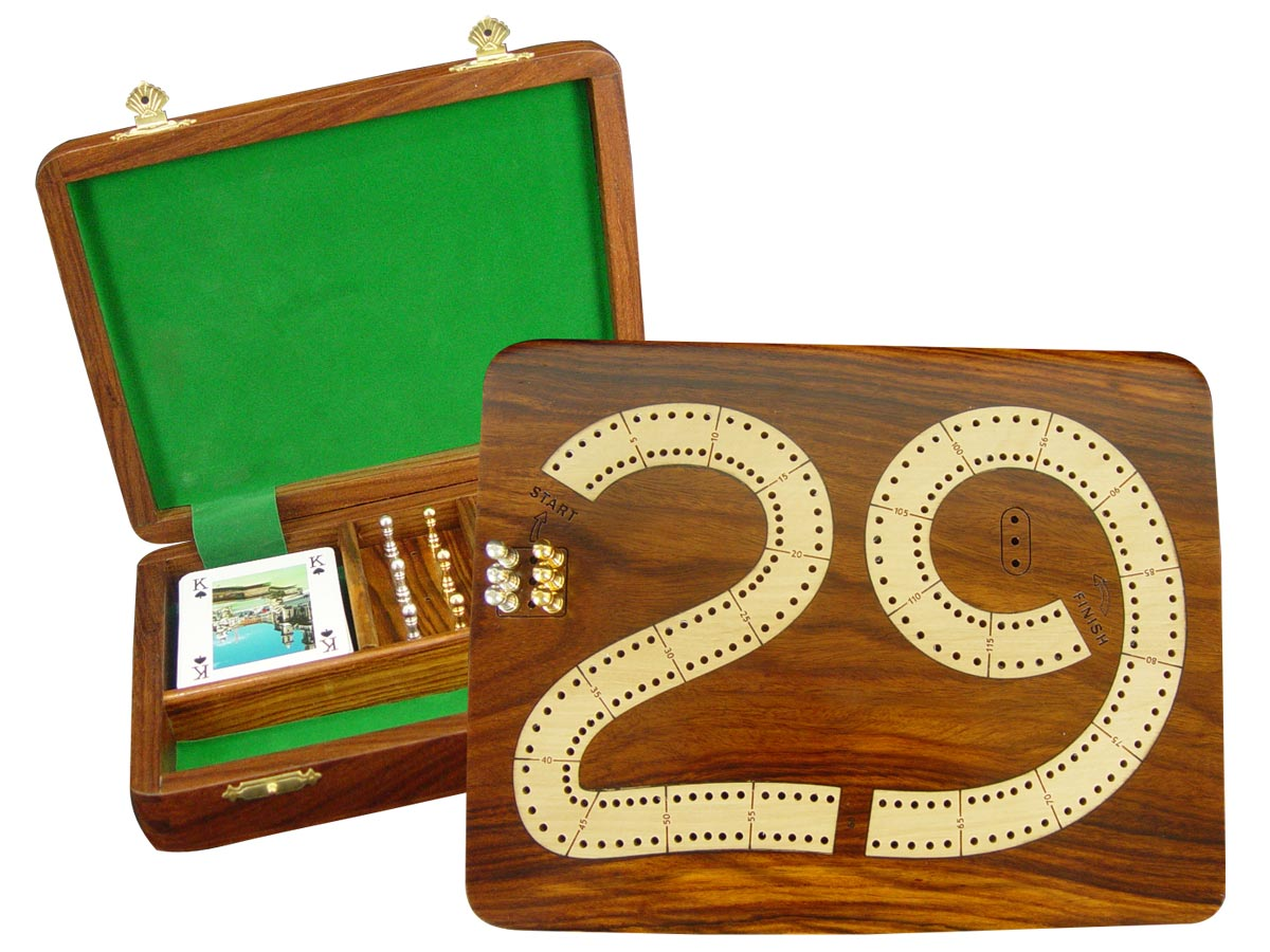 "29 Cribbage Board / Flat Box :: Maple Inlaid on Golden Rosewood Ground :: 9"" x 7"" :: 2 Tracks"