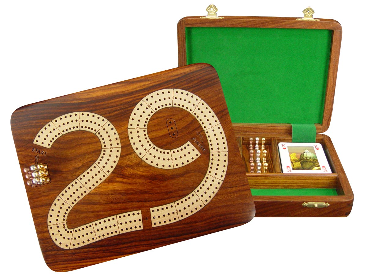 "29 Cribbage Board / Flat Box :: Maple Inlaid on Golden Rosewood Ground :: 9"" x 7"" :: 3 Tracks"