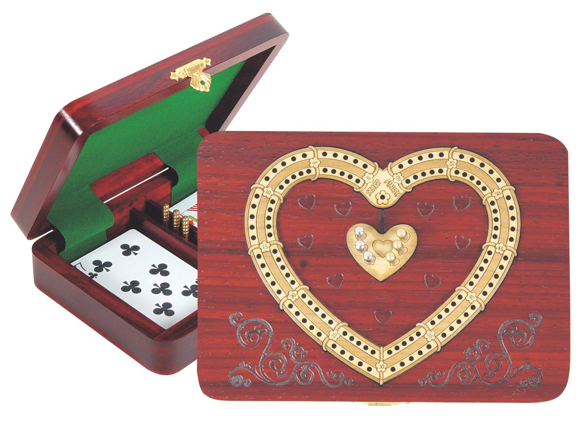 Heart Shape Cribbage Board inlaid with Blood Wood / Maple - 2 Tracks