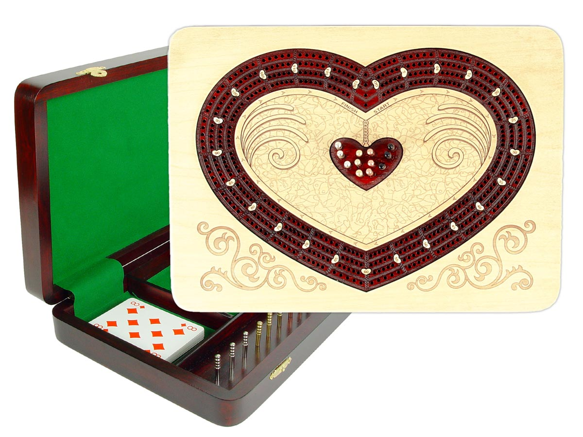 "Heart Shape Continuous Cribbage Board : 4 Tracks :: 11"" x 8"" :: Inlaid with Maple / Bloodwood"