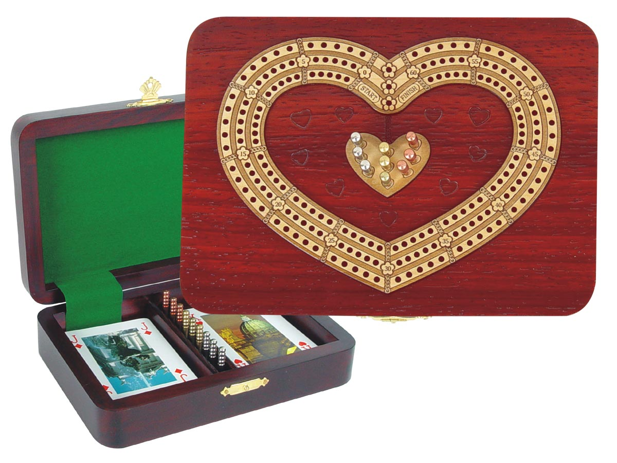 Cribbage Board 3 Tracks Heart Shape inlaid with Blood Wood / Maple