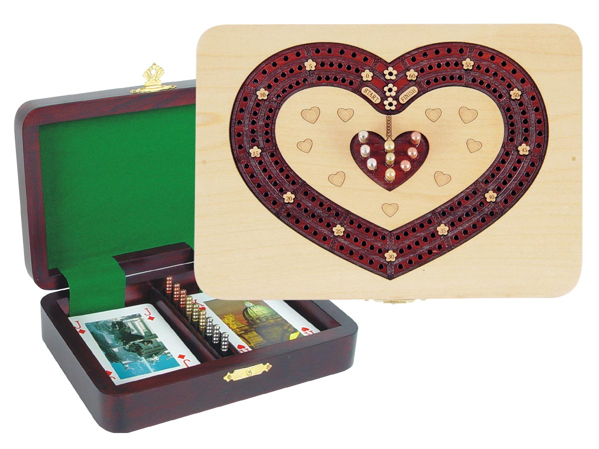 Heart Shape Cribbage Board inlaid with Maple / Bloodwood - 3 Tracks
