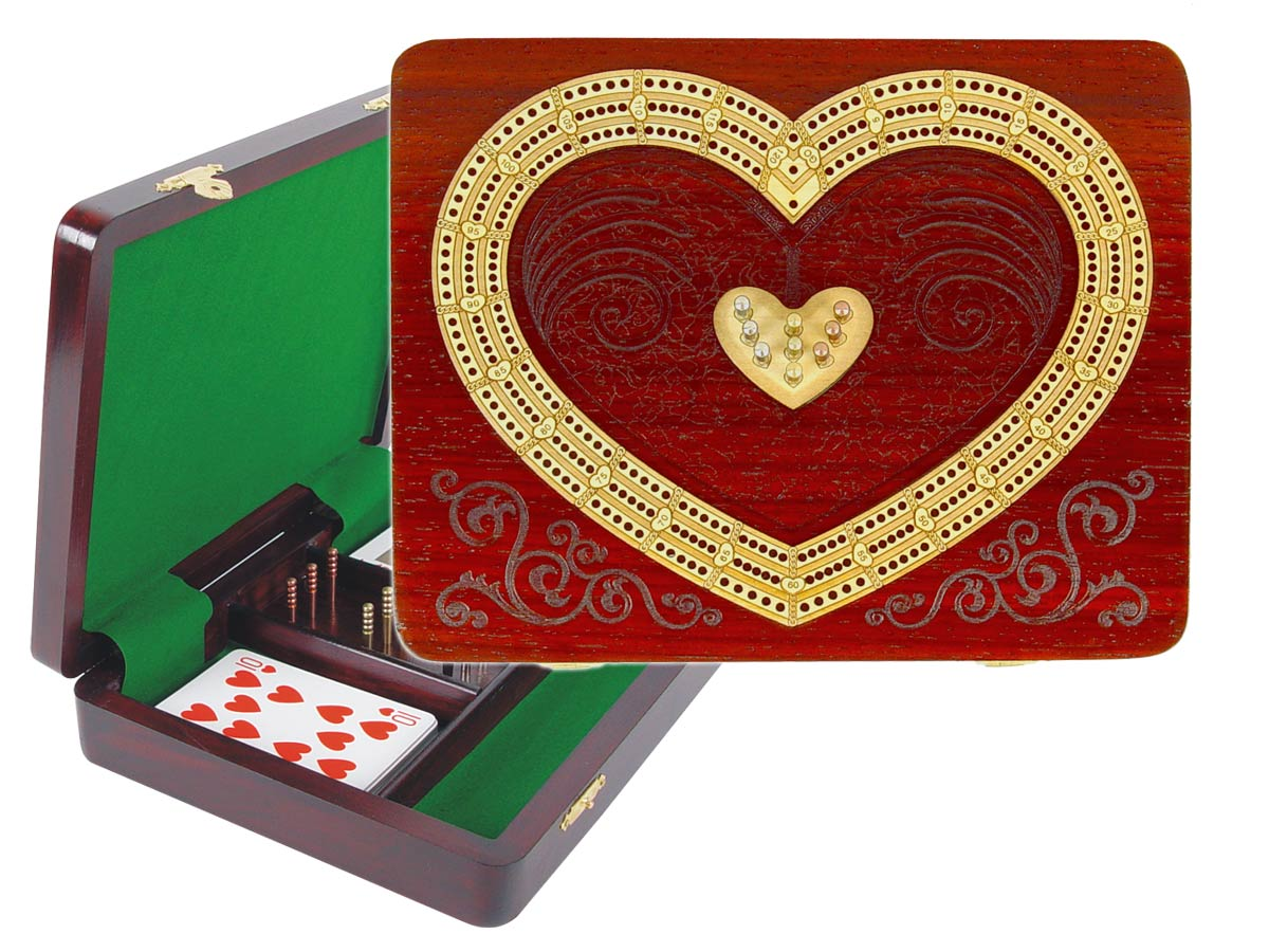 "Continuous Cribbage Board / Box inlaid in Blood Wood / Maple - 3 Tracks (Heart Shape) :: 9"" x 7"""