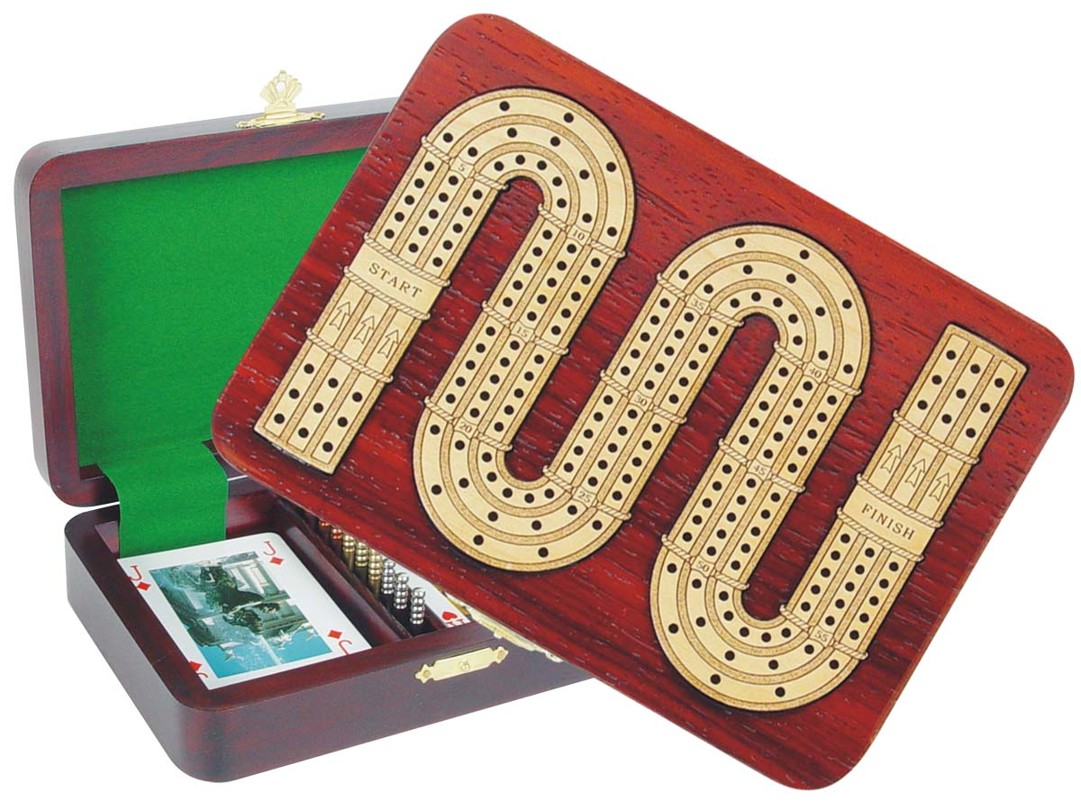 Zig Zag Shape Cribbage Board inlaid with Blood Wood / Maple - 3 Tracks