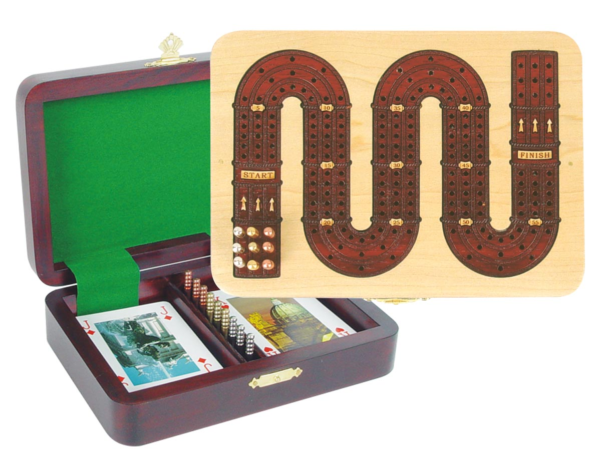 "Zig Zag Shape Cribbage Board in Maple / Bloodwood - 3 Tracks :: 7"" x 5"""