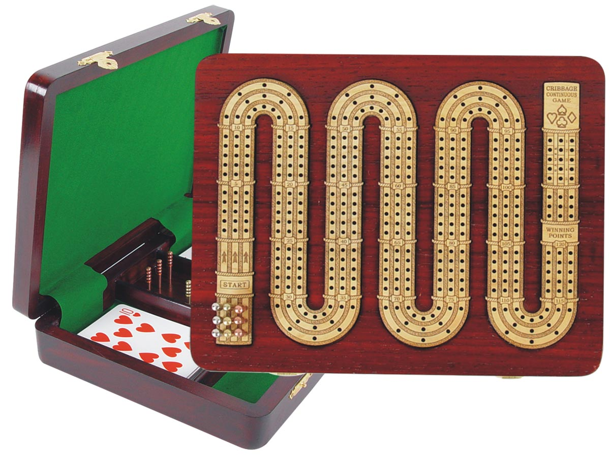 """Continuous Cribbage Board 3 Tracks (Zig Zag Shape) inlaid with Blood Wood / Maple :: 9"""" x 7"""""""