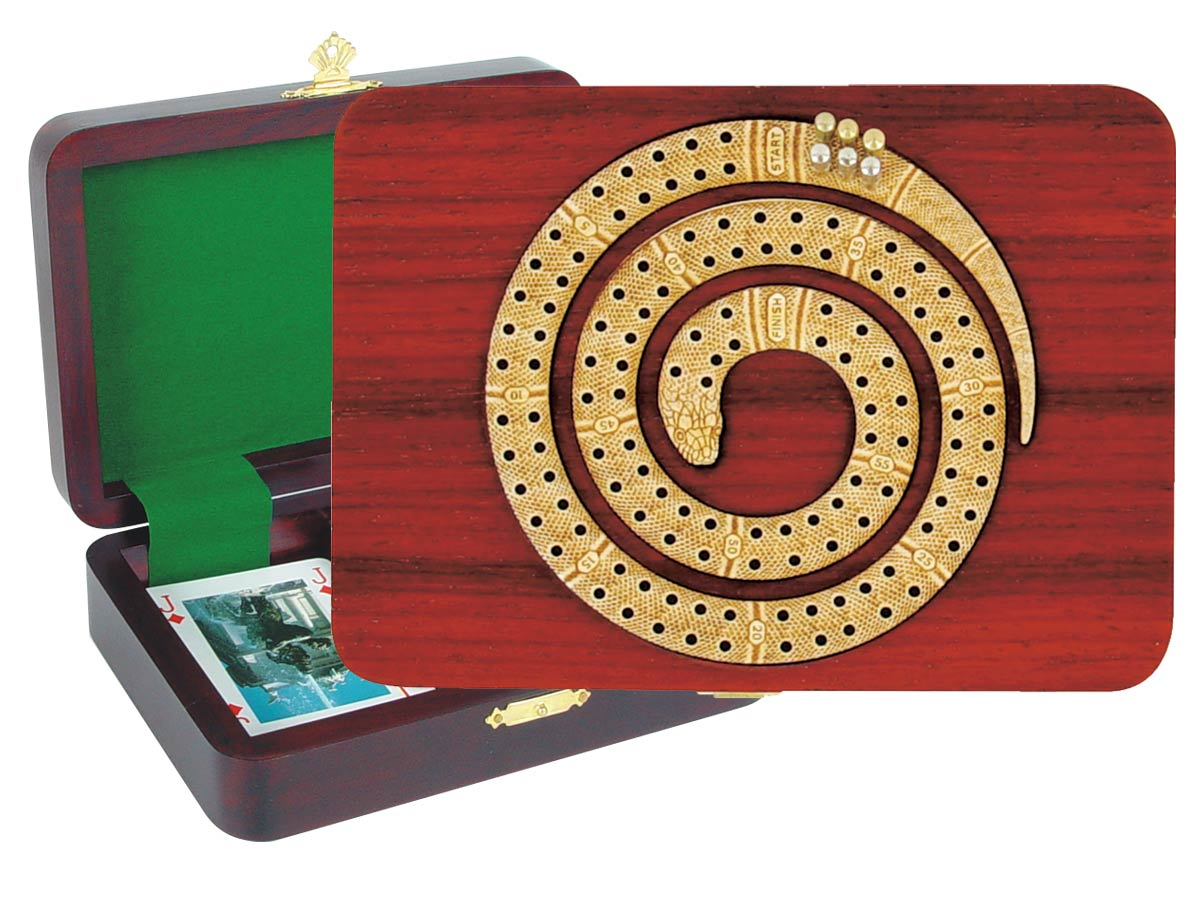 Snake Shape Cribbage Board inlaid with Blood Wood / Maple - 2 Tracks
