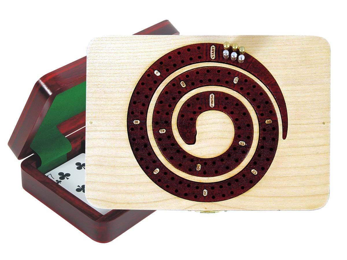 Cribbage Board Snake Shape inlaid in Maple / Bloodwood - 2 Tracks