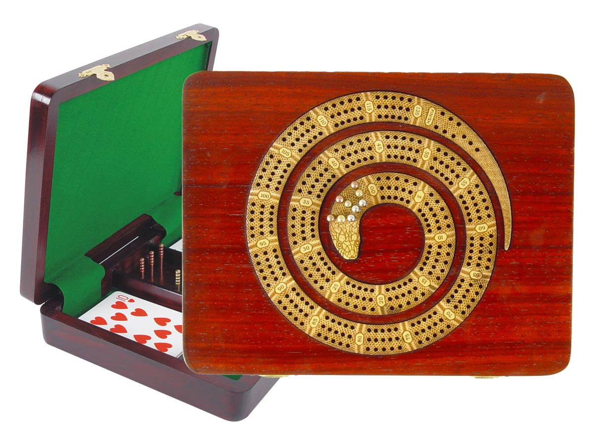 "Snake Shape Continuous Cribbage Board in Bloodwood / Maple : 3 Tracks :: 9"" x 7"""