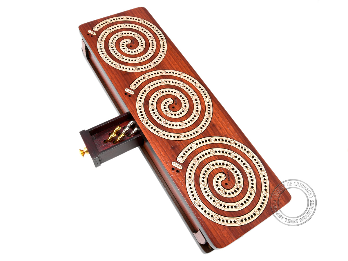 Spiral Design Continuous Cribbage Board / Box inlaid in Bloodwood / Maple Wood - 3 Track - Separate Storage Space for Two Deck of Cards & Pegs