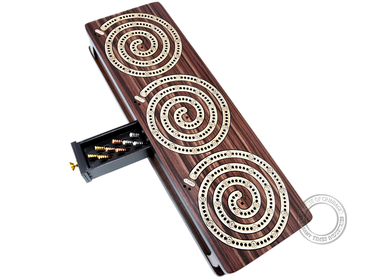 Spiral Design Continuous Cribbage Board / Box inlaid in Rosewood / Maple Wood - 3 Track - Separate Storage Space for Two Deck of Cards & Pegs
