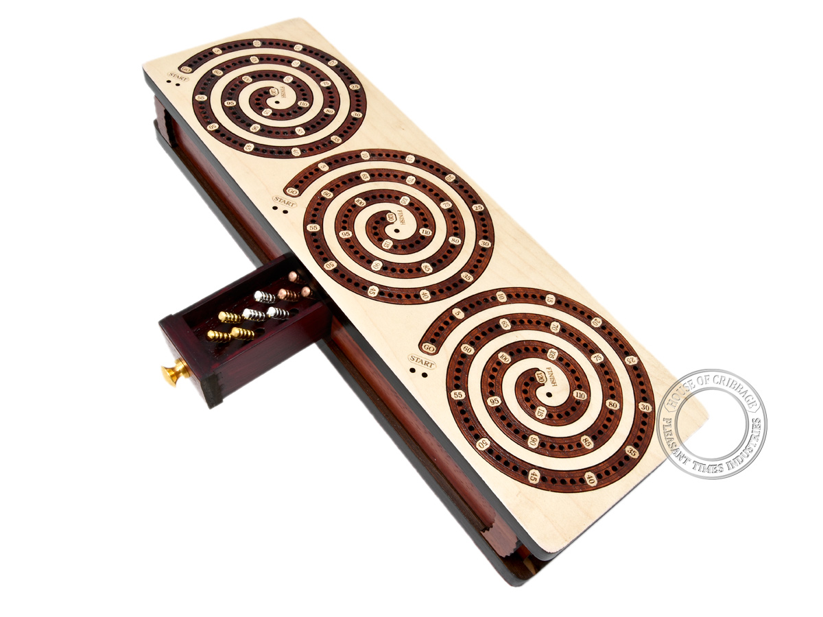 Spiral Design Continuous Cribbage Board / Box inlaid in Maple Wood / Bloodwood - 3 Track - Separate Storage Space for Two Deck of Cards & Pegs