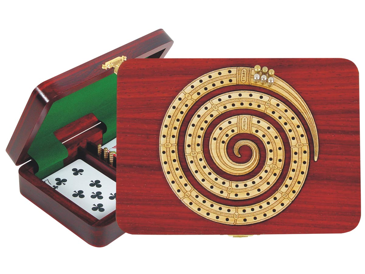 Wooden Spiral Shape Cribbage Board inlaid with Bloodwood / Maple - 2 Tracks