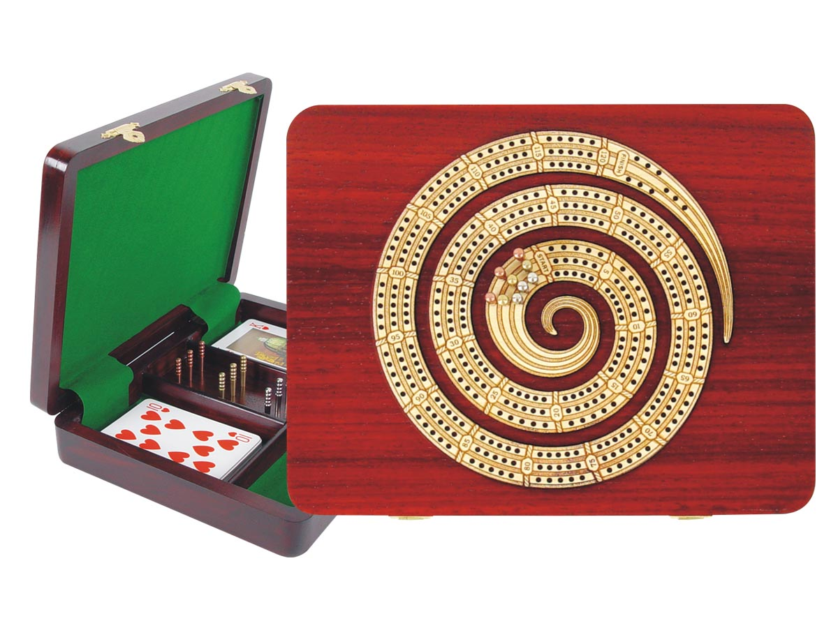 "Continuous Cribbage Board Spiral Shape in Bloodwood / Maple :: 3 Tracks :: 9"" x 7"""