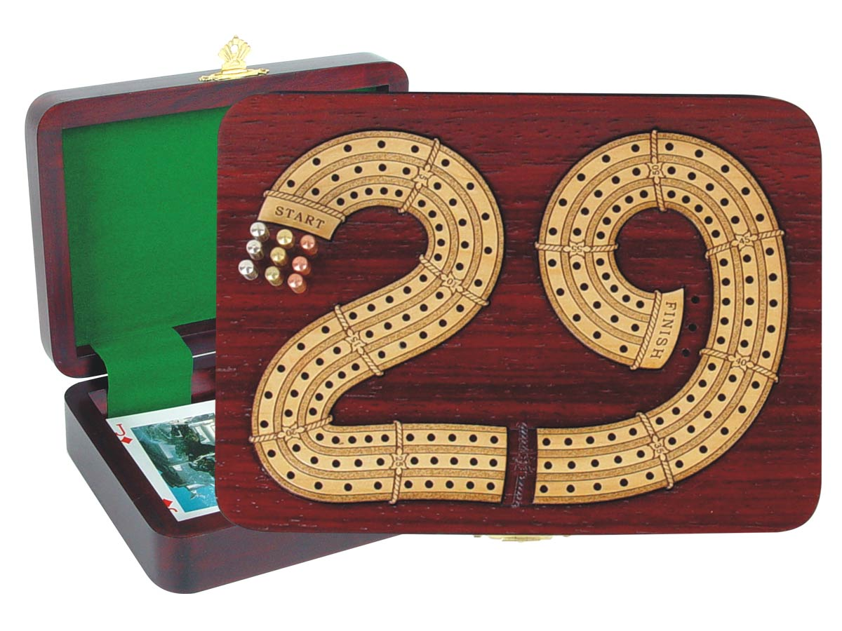 "29 Cribbage Board inlaid in Blood Wood / Maple - 3 Tracks :: 7"" x 5"""
