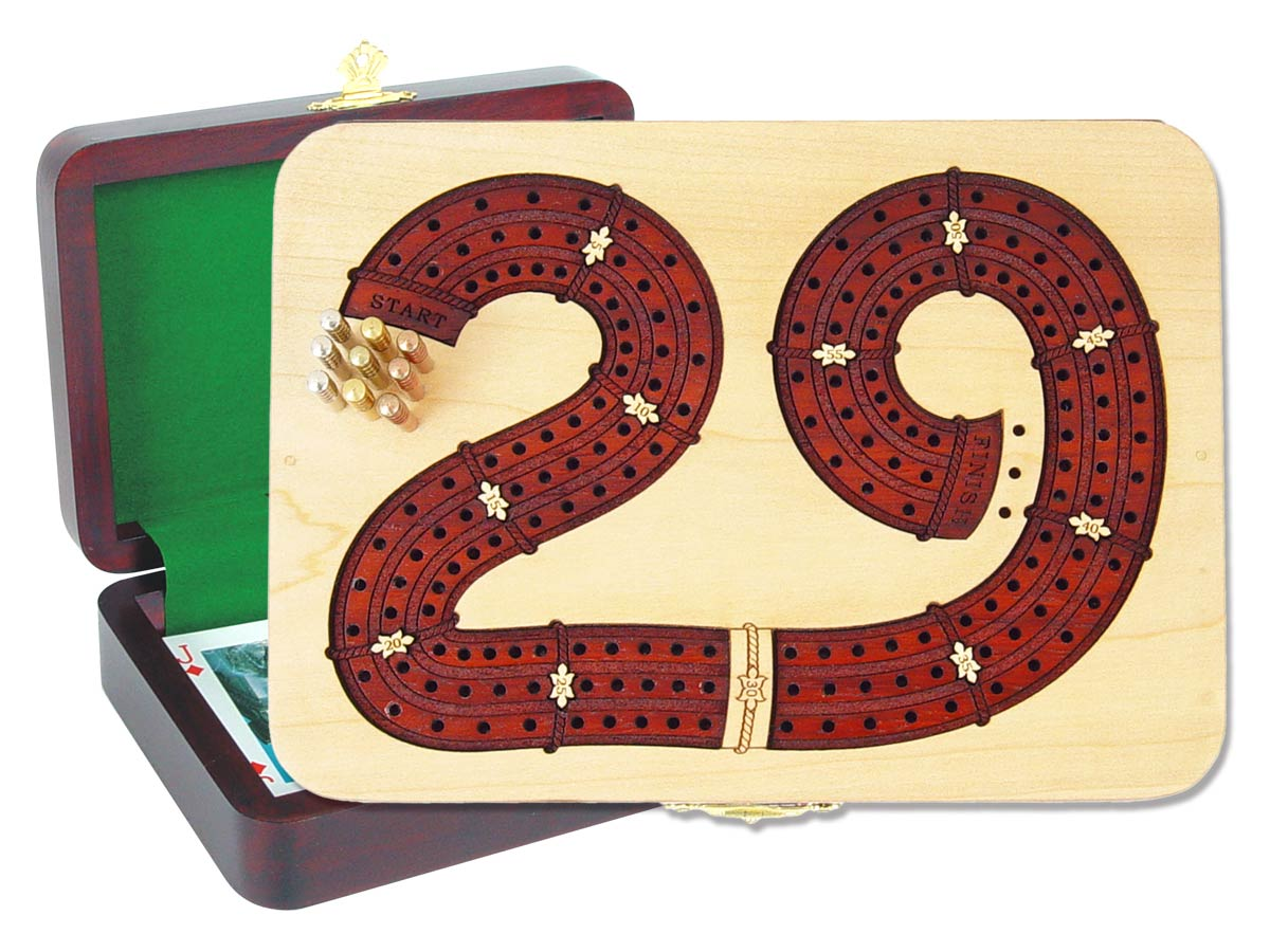 "29 Cribbage Board inlaid with Maple / Bloodwood : 3 Tracks :: 7"" x 5"""