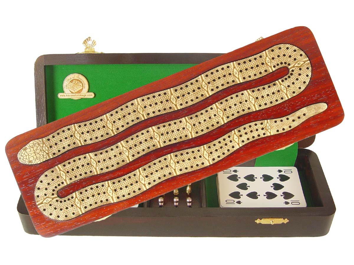 """Snake Shape Continuous Cribbage Board inlaid with Bloodwood / Maple - 3 Tracks :: 12"""""""