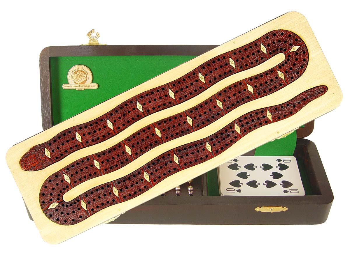 Snake Shape Continuous Cribbage Board inlaid with Maple / Bloodwood - 3 Tracks :: 12""
