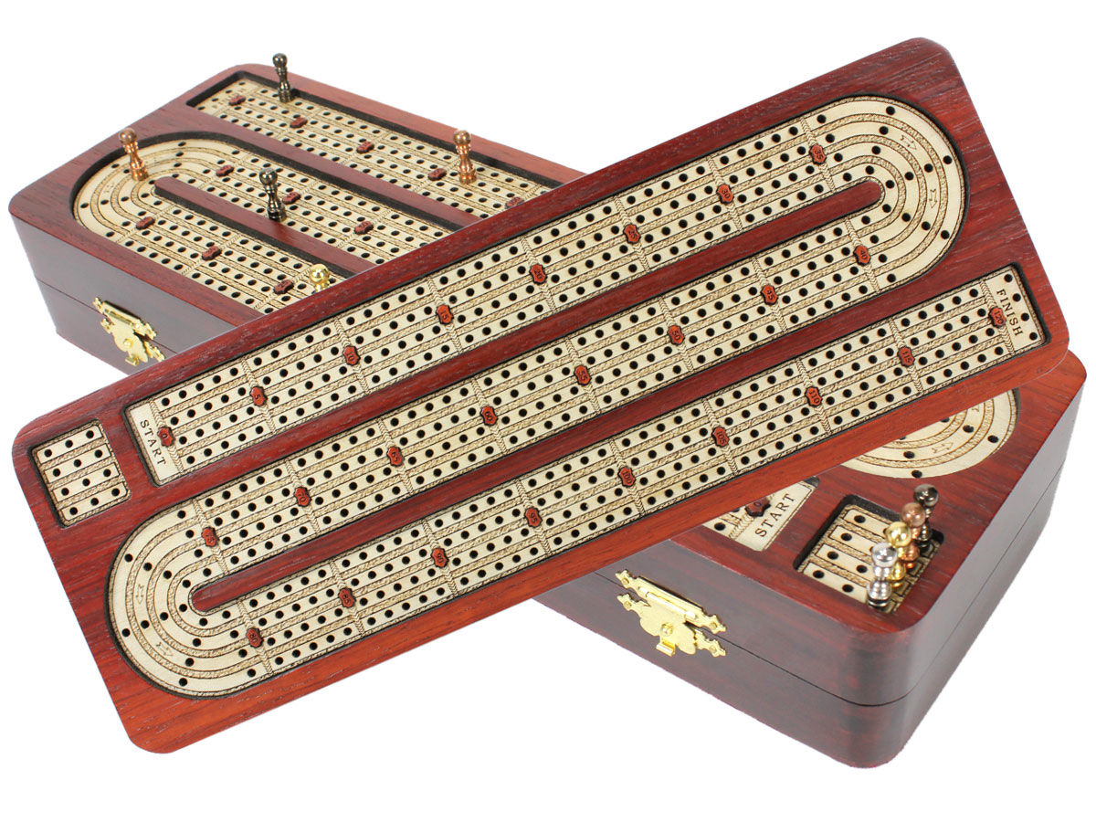 Continuous Cribbage Board inlaid with Bloodwood / Maple 4 Tracks :: 14""